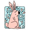 Hand drawn cartoon cute rabbit illustration with hearts, stars and design elements.