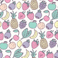 Hand drawn cartoon fruits seamless pattern. Fruit, multifruit and berry flavors Royalty Free Stock Photo
