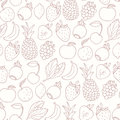 Hand drawn cartoon fruits seamless pattern. Fruit, multifruit and berry flavors. Outline food background Royalty Free Stock Photo