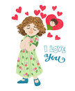 Hand-drawn cartoon girl thinks about the boy . I love you greeting card