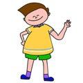 Hand-drawn cartoon happy boy Stock Photo