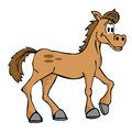 Hand drawn cartoon horse isolated on white Stock Images