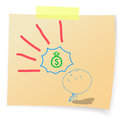 Hand drawn cartoon human hope to money bags on sticky notes Royalty Free Stock Photography