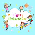 Cartoon kids playing together in the sky. Happy children's day background for international children celebration
