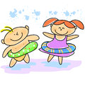 Hand-drawn cartoon kids swimming Royalty Free Stock Image