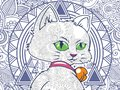illustration of cat in floral background doodle for adult stress release coloring page