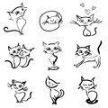 Hand drawn cats icons collection Royalty Free Stock Image