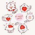 Hand drawn cats set with words. Cute doodle vector animals for prints , kid apparel, girlish fashion design print