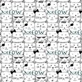 Hand drawn cats vector pattern. Doodle art.