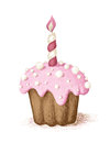 Hand drawn celebration cupcake illustration of Royalty Free Stock Photo