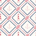Hand-Drawn Chain and Rope Frames with Anchors, Lighthouses and Seppelin Bend Nautical Knots Vector Seamless Pattern.