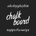 Hand drawn chalk board alphabet font. Lowercase letters. Royalty Free Stock Photo