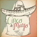 Hand Drawn Charro`s Hat with Scroll for Cinco de Mayo, Vector Illustration