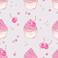 Hand drawn cherry cupcake seamless pattern