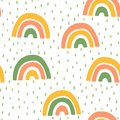 Hand Drawn Children`s Cute rainbow and Rain Seamless Pattern. Simple Vector Background in Scandinavian Style