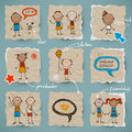 Hand drawn children and speech bubbles set Stock Photos