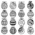 Hand drawn Christmas balls zentangle style for coloring book.
