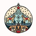 Hand drawn Christmas bauble ornament motif. Isolated festive ball deco design element. Cute winter holidays clip art