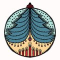 Hand drawn Christmas bauble ornament motif. Isolated festive ball tree design element. Cute winter holidays clip art icon. Festive