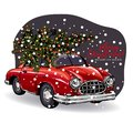 Hand drawn Christmas greeting card. Vector retro red car with decorated fir tree on top. Snowy evening forest. Xmas and