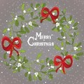 Christmas mistletoe wreath with red ribbons. Vector illustration on grey background with snow Royalty Free Stock Photo