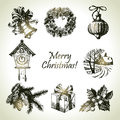Hand drawn christmas set Stock Photography