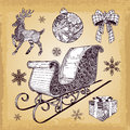 Hand drawn christmas sleight decoration doodles and set eps Stock Photography