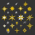 Hand drawn Christmas stars and Bethlehem star for winter and holiday illustrations
