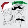 Hand drawn christmas style doodle coordination vector illustration of for new yaer man folded shirt the bow tie beards santa hat Stock Photo