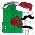 Hand drawn christmas style doodle coordination vector illustration of for new yaer man folded shirt the bow tie beards santa hat Stock Photography