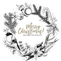 Hand drawn Christmas wreath. Fir, pine, eucalyptus, cotton, poinsettia, bullfinch, mistletoe, holly. Vector greeting