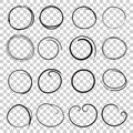 Hand drawn circles icon set. Collection of pencil sketch symbols