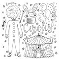 Hand drawn Circus collection with clown, balloon,  tent and magic rabbit. Coloring book page for kids Royalty Free Stock Photo