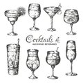 stock image of  Hand drawn cocktails. Vintage glasses with liquors and alcoholic drinks, summer drinks sketch menu. Vector tropical