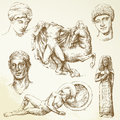 Hand drawn collection ancient greece Stock Photos