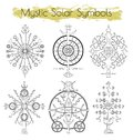Hand drawn collection with mystic solar symbols Royalty Free Stock Photo