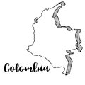 Hand drawn of Colombia map