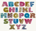 Hand drawn color bold font sketch style alphabet vector eps Royalty Free Stock Image