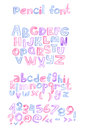 Hand drawn with color pencils abc letters sequence. Capital and lowercase letters, numbers and punctuation marks. Hatched alphabet Royalty Free Stock Photo
