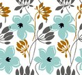 Hand drawn color vector seamless pattern. Abstract flowers with leaves, sketch drawing. Scandinavian style cartoon floral texture.