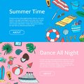 Hand drawn colored beach objects horizontal web banners. Vector summer travel doodle elements illustration with place