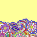 Hand drawn colored floral zentangle on white background