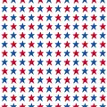 Hand drawn colorful american flag blue, red star seamless pattern on white background