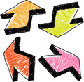 Hand drawn colorful arrows Royalty Free Stock Images