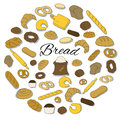 Hand Drawn colorful bread icon round set