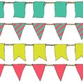 Hand drawn colorful doodle bunting banners horizontal seamless pattern. Doodle banner seamless pattern, bunting flags, border sket Royalty Free Stock Photo