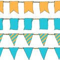 Hand drawn colorful doodle bunting banners horizontal seamless pattern. Doodle banner seamless pattern, bunting flags, border Royalty Free Stock Photo