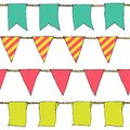 Hand drawn colorful doodle bunting banners horizontal seamless pattern. Cartoon bunting flags, banner, sketch border. Bright Decor Royalty Free Stock Photo