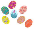 Hand drawn colorful Easter eggs on white background
