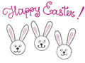 Hand drawn colorful isolated bunnies and lettering Happy Easter. Isolated illustration painted by oil